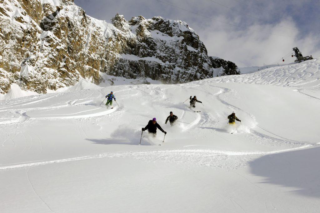 Image about tandem ski passo tonale ponte di legno